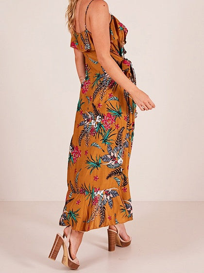 Yellow V-neck Floral Print Ruffle Trim Cami Maxi Dress
