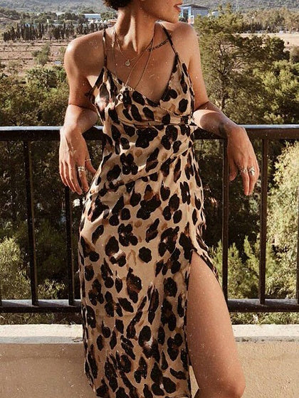 Brown V-neck Leopard Print Open Back Cami Mini Dress