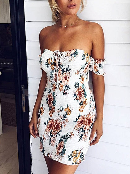 78baeb6bf1 White Off Shoulder Floral Print Lace Up Front Bodycon Mini Dress – MYNYstyle