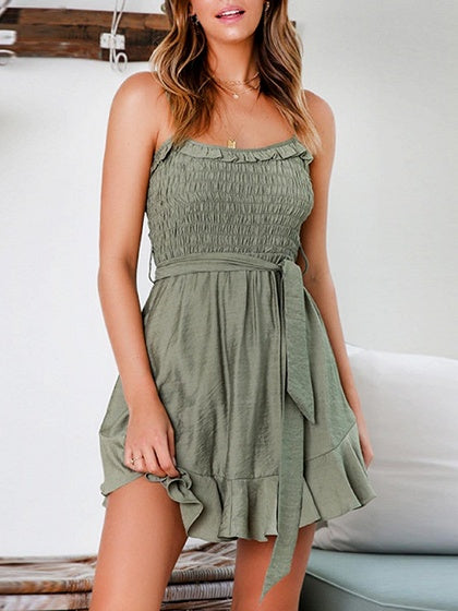 Army Green Tie Waist Ruffle Hem Cami Mini Dress
