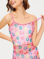 Pink Geo Pattern Print Cami Mini Dress