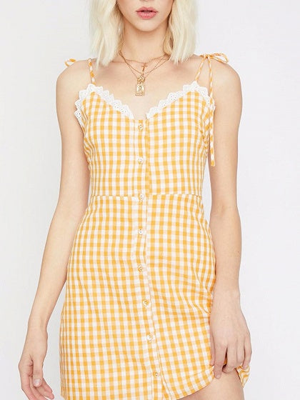 Yellow Plaid V-neck Lace Panel Cami Mini Dress