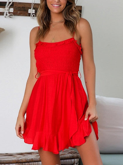 Red Tie Waist Ruffle Hem Cami Mini Dress