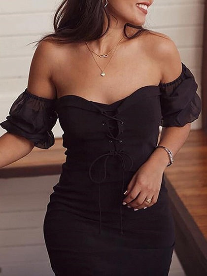 Black Off Shoulder Eyelet Lace Up Front Puff Sleeve Mini Dress
