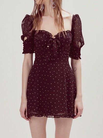 Dark Red Chiffon Square Neck Polka Dot Print Puff Sleeve Mini Dress
