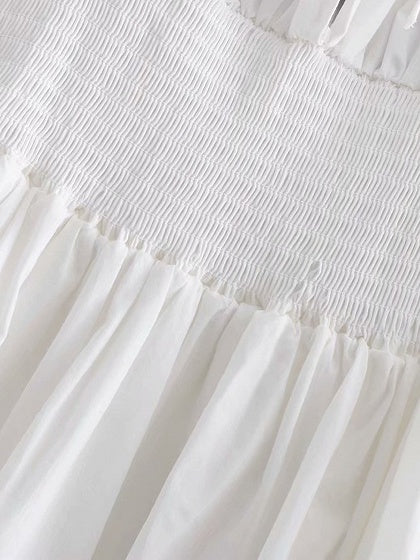 White Square Neck Frill Trim Puff Sleeve Mini Drses