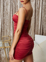 Red V-neck Knot Front Bodycon Cami Mini Dress