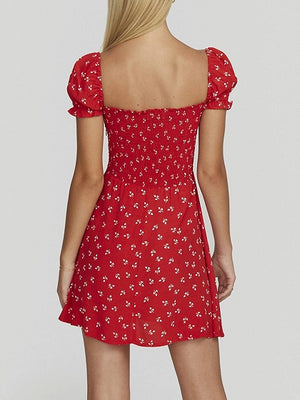 Red Square Neck Floral Print Puff Sleeve Mini Dress