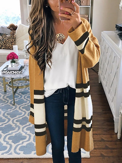 Yellow Contrast Stripe Open Front Longline Cardigan