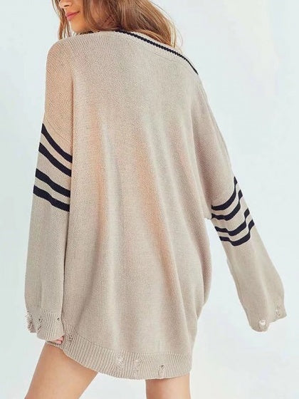 Khaki V-neck Longline Knit Sweater