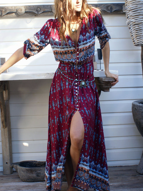 Burgundy Tribal Print Split Maxi Dress