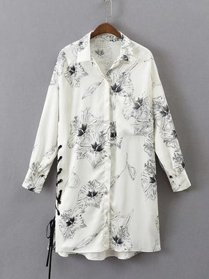 White Floral Print Side Lace-up Shirt Dress