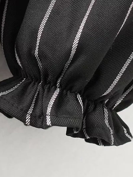 Black Stripe Ruffle Trim Embroidery Detail Long Sleeve Dress