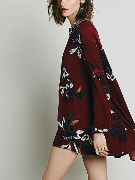 Burgundy Print Detail Long Sleeve Mini Dress