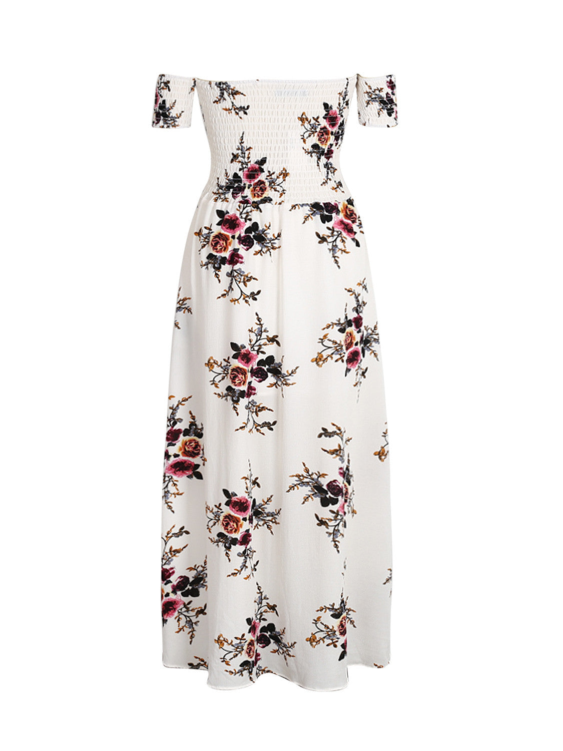 3b08e9cda5 White Off Shoulder Shirred Floral Print Wrap Tulip Beach Maxi Dress ...