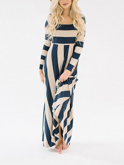 Blue Stripe Long Sleeve Maxi Dress