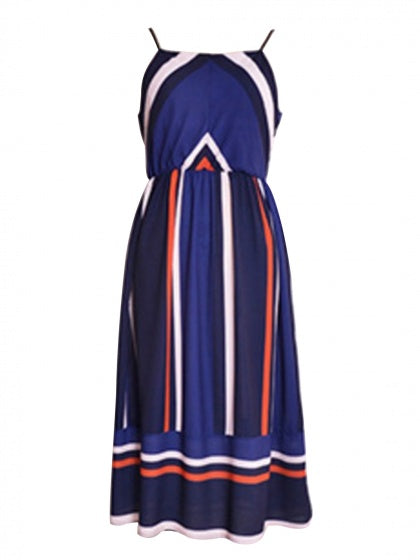 Dark Blue Contrast Spaghetti Strap Midi Dress