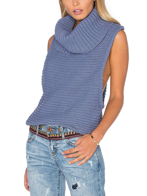 f6977db40d Steel Blue Chunky Knitted Roll Neck Race Back Sleeveless Sweater