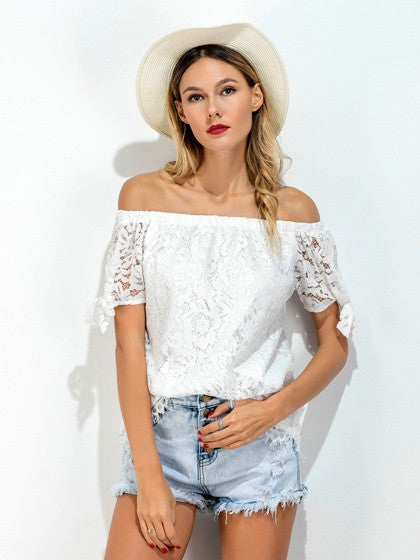 White Off Shoulder Bow Sleeve Lace Blouse