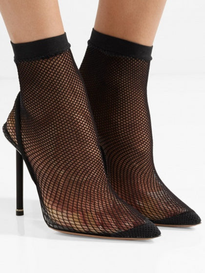 Black Fishnet Sock Chic Women Pointed High Heeled Pumps