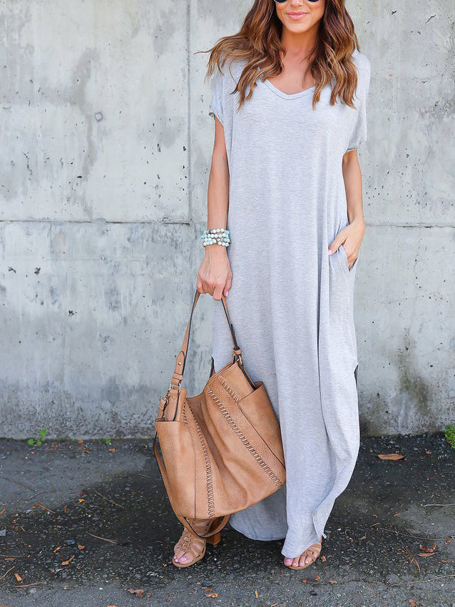 Gray V-neck Split Side Maxi Dress