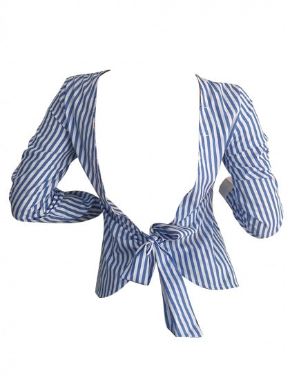 Blue Stripe Open Back Bow Tie Detail Long Sleeve Blouse