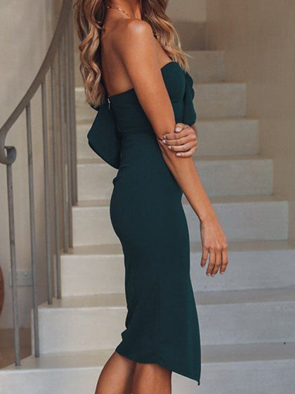 Dark Green Cotton One Shoulder Ruffle Trim Chic Women Bodycon Dress