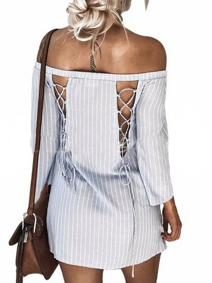 Gray Stripe Off Shoulder Lace Up Back Mini Dress