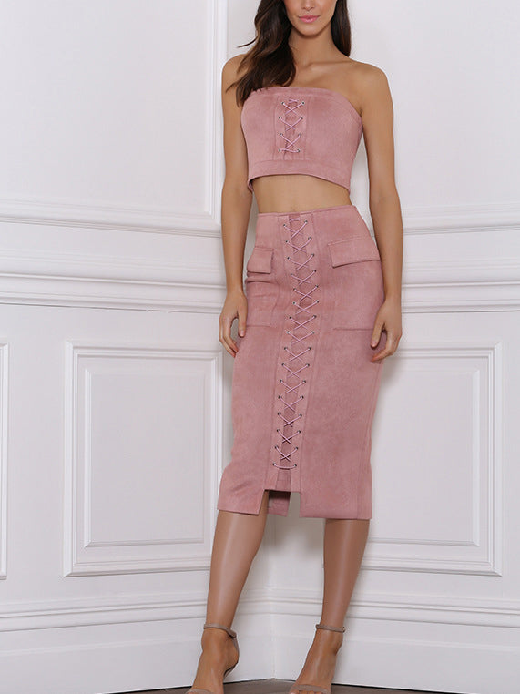 Pink Bandeau Lace Up Crop Top And Pencil Skirt