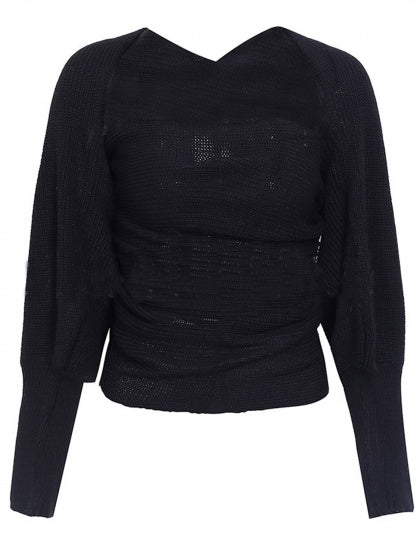 Black Cross Multi-way Knit Sweater