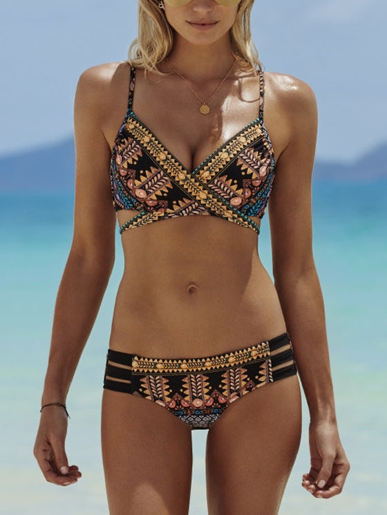 Polychrome Folk Print Cross Wrap Bikini Top And Bottom