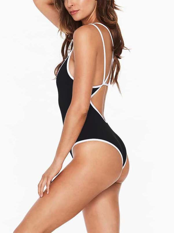 Black Strap Cross One-piece Swimsuit