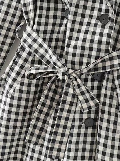 Monochrome Gingham Lapel Double Breasted Tie Waist Trench Coat