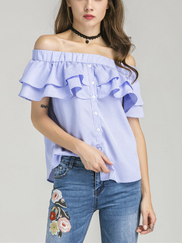 Blue Gingham Off Shoulder Double Layer Ruffle Button Front Top