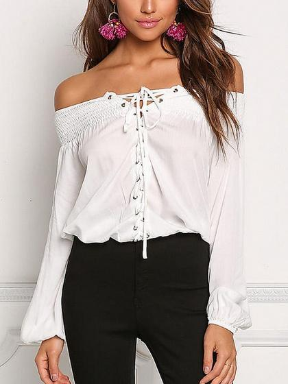 Off Shoulder Eyelet Lace Up Front Long Sleeve Blouse
