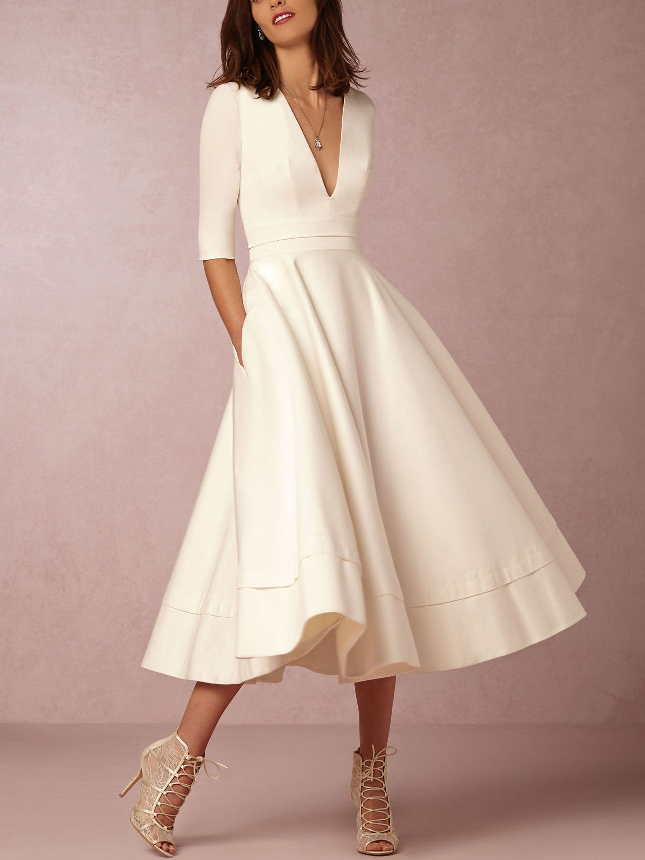 White V Neck Half Sleeve Foam Scuba Skater Midi Dress