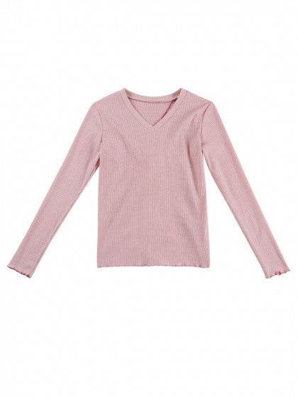 fea1664efe09 Pink V-neck Open Back Long Sleeve Ribbed T-shirt – MYNYstyle
