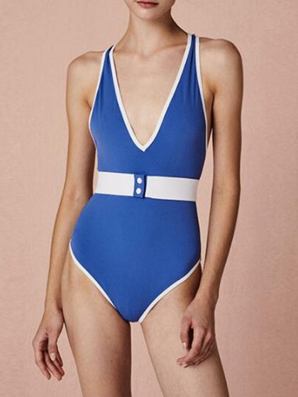 Blue V-neck Cross Strap Back One-Piece Swimsuit