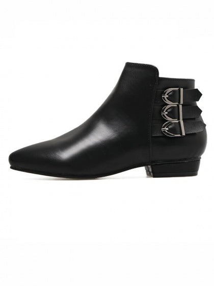 Black Leather Look Buckle Strap Pointed Ankle Boots