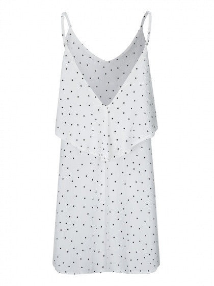 White V-neck Polka Dot Layered Top Backless Cami Dress