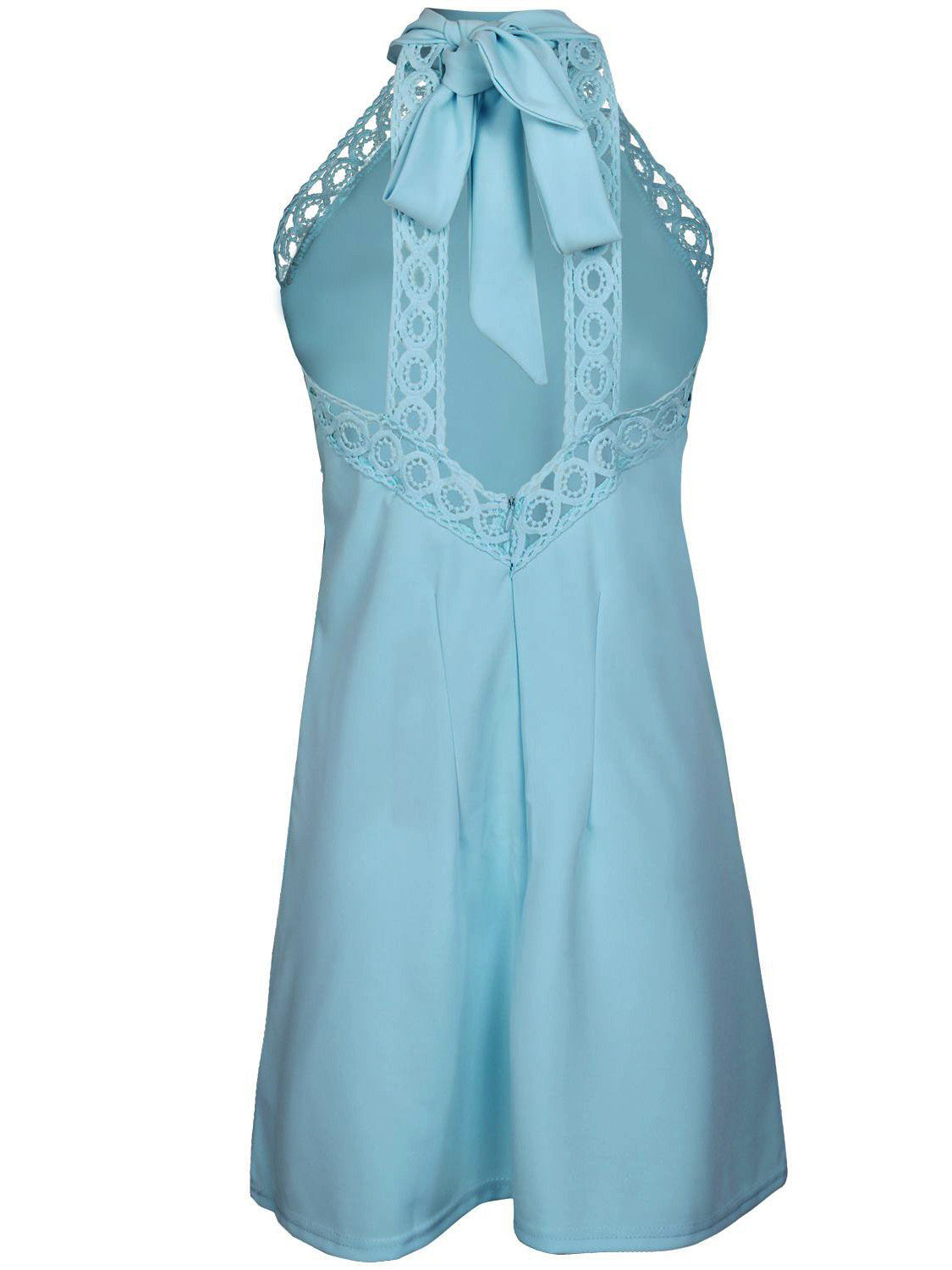 Light Blue Halter Tie Neck Cut Away Shoulder Lace Trim A-line Dress