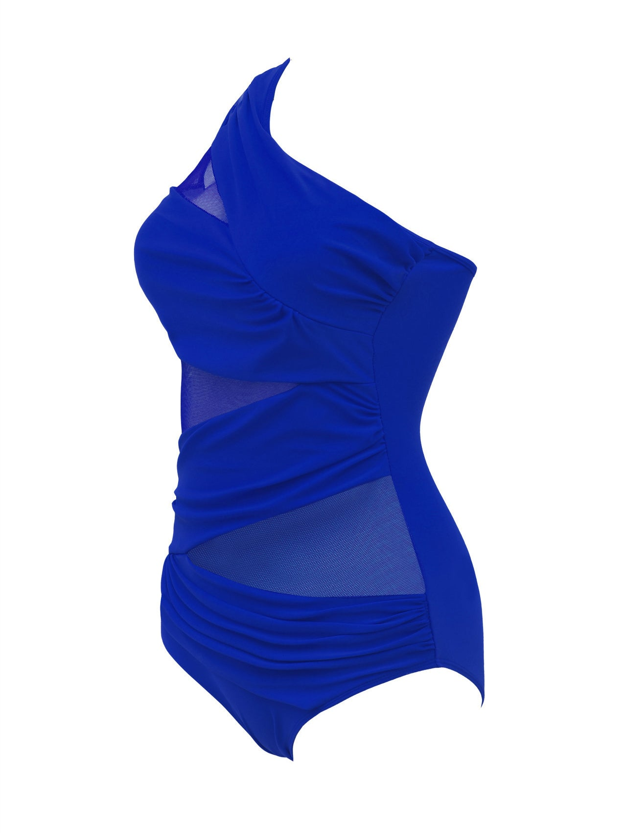 Blue One Shoulder Ruched Detail Sheer Mesh Swimwear