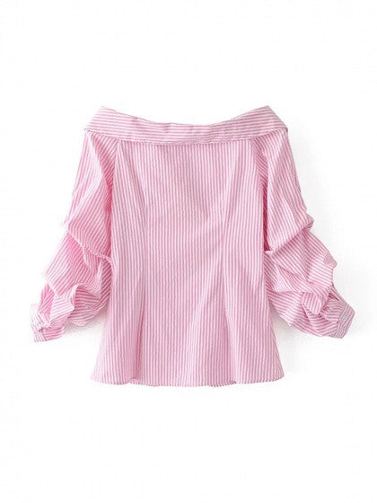 Pink Stripe Pointed Collar V Front Puff Sleeve Shirt Top
