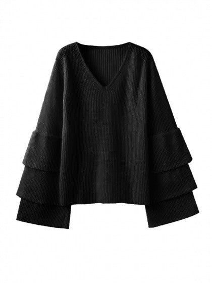 Black V Neck Layered Sleeve Rib Knit Sweater