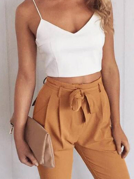 Khaki Spaghetti Strap V-neck Crop Top And High Waist Pants