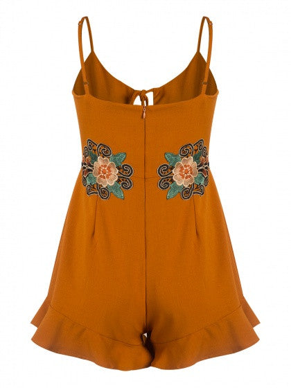Orange Lace Up Front Embroidery Detail Ruffle Trim Romper Playsuit