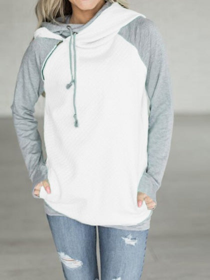 White Contrast Cotton Zip Front Long Sleeve Fleece Hoodie