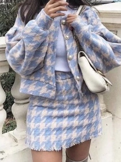 Blue Plaid Wool Blend Puff Sleeve Chic Women Coat And High Waist Skirt