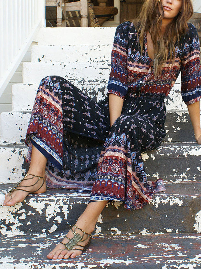 Navy Blue Tribal Print Split Maxi Dress