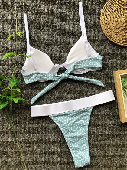 Green Contrast Polka Dot Print Tie Back Bikini Set